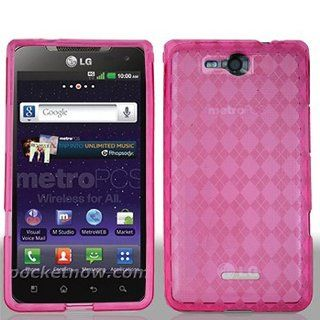 Transparent Clear Hot Pink Flex Cover Case for LG Lucid 4G VS840 Cell Phones & Accessories