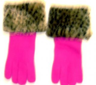 Fushia Color Angora Wool Gloves Hand Trimmed with Fluffy Leopard Print Fur Cuff for Women and Teens