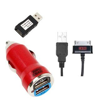 EZOPower 2 in 1 Data Charging Cable plus Red 2 Port USB Car Power Adapter, Charger Adapter USB Filter Plug for for Samsung Galaxy Tab Galaxy Note 10.1 inch N8010, Galaxy Tab 2 7 inch P3100 / 10.1 inch P5100, Tab 7.7 plus and more Computers & Accessor