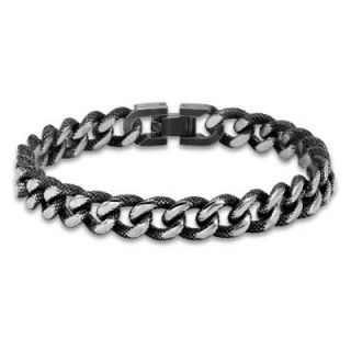 Triton Mens 13.0mm Black Ion Plated Stainless Steel Curb Bracelet   9