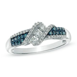 CT. T.W. Enhanced Blue and White Diamond Three Stone Slant Ring in