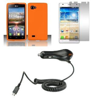 LG Optimus 4X HD P880 Combo   Orange Silicone Gel Cover + Atom LED Keychain Light + Screen Protector + Micro USB Car Charger Cell Phones & Accessories
