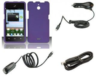 Huawei Ascend Plus H881C   Premium Accessory Kit   Purple Hard Cover Case + ATOM LED Keychain Light + Wall Charger + Car Charger + Micro USB Cable Cell Phones & Accessories