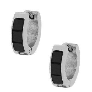 Stainless Steel Silver White Gold Tone Black Crystals CZ Polished Womens Girls Hoop Huggie Earrings Jewelry