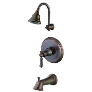 Pegasus 873 7096H Estates Series Pressure Balance Single Handle Tub/Shower Faucet, Heritage Bronze   Tub And Shower Faucets