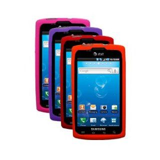 Four Silicone Cases / Skins / Covers for Samsung Captivate / SGH I897   Hot Pink, Purple, Red, Orange Cell Phones & Accessories