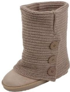 Womens Rib Knit Sweater Crochet Boots 3 Colors Available (6, Sand Triple 91006) Snow Boots Shoes