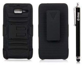 iSee Case Hybrid Kickstand Belt Clip Holster Case for Verizon Motorola Droid Razr M XT907 Razr i XT 890(XT907 King Black Holster+Stylus) Cell Phones & Accessories