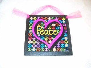 Peace in Pink Heart with Flowers Sign Wooden Wall Art Teen Girls Bedroom Decor   Peace Sign Room Decor