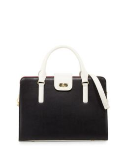 June Colorblock Leather Tote Bag, Black/White   Charles Jourdan