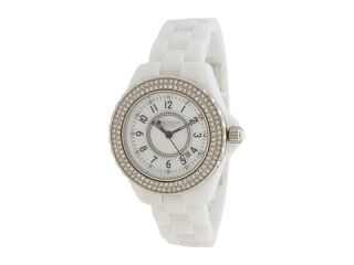 Isaac Mizrahi New York Classic Pave Bezel Ceramic Bracelet Watch White