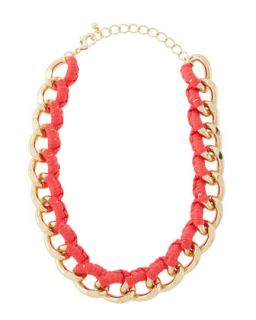 Threaded Curb Chain Golden Necklace, Pink Neon