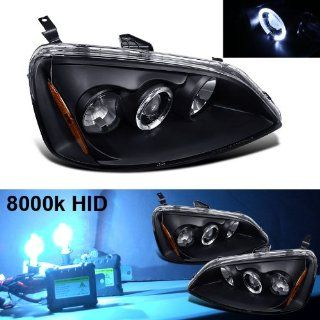 Eautolight Slim 8k HID + 2001 Honda Civic Halo Projector Headlights Automotive