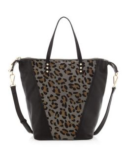 Abbey Leopard Print Calf Hair Satchel Bag, Black   Kelsi Dagger