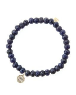 6mm Faceted Sapphire Beaded Bracelet with Mini Yellow Gold Pave Diamond Disc