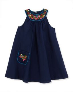 Floral Embroidered Batiste Dress, Newport Navy, Girls 2T 3T   Ralph Lauren