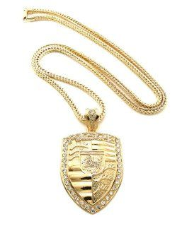 "New Celebrity Style Iced Out PORSCHE Pendant 4mm/36"" Franco Chain Necklace XP922G Jewelry"