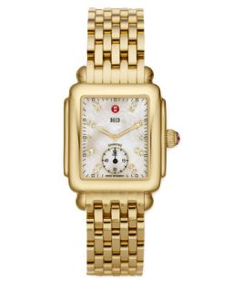 Deco 16 Golden Plate Watch Head, White Diamond Dial   MICHELE