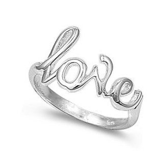 925 Sterling Silver Cursive Love Ring Right Hand Rings Jewelry