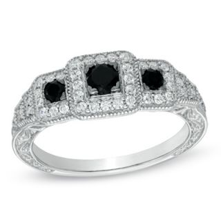 CT. T.W. Enhanced Black and White Diamond Vintage Style Three