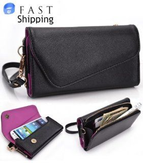 Kroo Urban Series Black / Plum Purple Universal Women's Wristlet Wallet for Nokia Lumia 928 (Verizon Wireless) Mobile + Envydeal Velcro Cable Tie // More Accent Colors Available Computers & Accessories