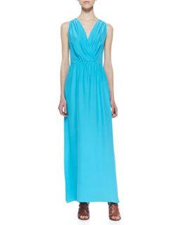 Womens Skylar Pleated Surplice Maxi Dress, Turquoise   Amanda Uprichard Loves
