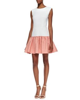 Womens Sleeveless Jacquard Skirt Dress, Ivory/Electric Guava   Erin Fetherston