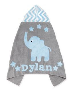 Personalized Big Foot Elephant Hooded Towel, Blue `   Boogie Baby