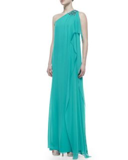 Womens Beaded One Shoulder Caftan Gown, Turquoise   Badgley Mischka Collection