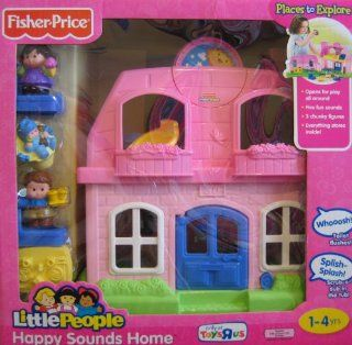Fisher Price Little People Happy Sounds Home (PINK) w Sounds & 3 Figures    Exclusive (2009) Toys & Games