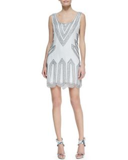 Womens Sleeveless Scoop Neck Beaded Point Cocktail Dress, White   Phoebe by