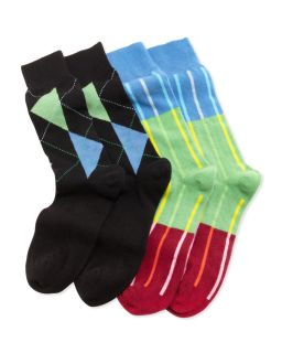 2 Pair Mens Cashmere Socks Boxed Set, Black/Multi   Arthur George by Robert