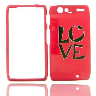Motorola Droid RAZR XT912 XT 912 Hot Pink with Black LOVE Heart Design Snap On Hard Protective Cover Cell Phone Case Cell Phones & Accessories