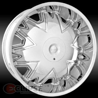 MASSIV 915 FIGARO 24X9.5 CHROME Wheel 5 115 5 120 Bolt Pattern / +15 Offset / 74.1 Hub Bore Automotive