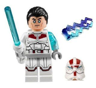 LEGO Jek 14 Star Wars minifigure   COMPLETE (White lightsaber, helmet, hair piece, & lightning) Toys & Games