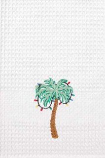 Tropical Palm Tree Christmas Lights Kitchen Towel   Dish Towels