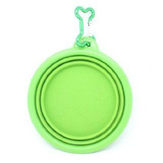 """Fold N Go"" Silicone Collapsible Pet Food/Water Dish Dog Travel Bowl with Bone Clip  Hyd Bowls Feeders"