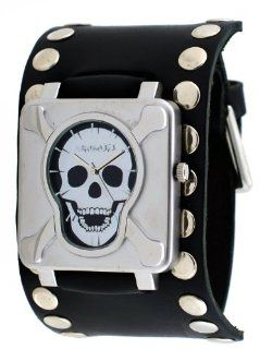 Nemesis #SM930K Men's Stainless Steel Skull Face Dial Wide Leather Cuff Band Watch Watches