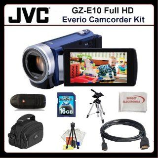 JVC GZ E200 Full HD Everio Camcorde Kit Includes JVC GZE200 Camcorder (Blue), HDMI Cable, 16GB Memory Card, Memory Card Reader, Large Carrying Case, Medium Size Tripod, Table Top Tripod, LCD Screen Protectors, Cleaning Kit & SSE Microfiber Cleaning Cl