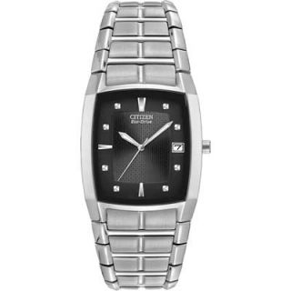 Mens Citizen Eco Drive™ Stainless Steel Watch with Black Tonneau