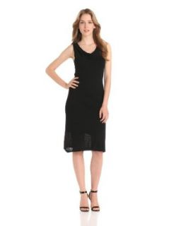 Evolution by Cyrus Women's Sleeveless Cowl Neck Pointelle Dress With Slip, Black, Small