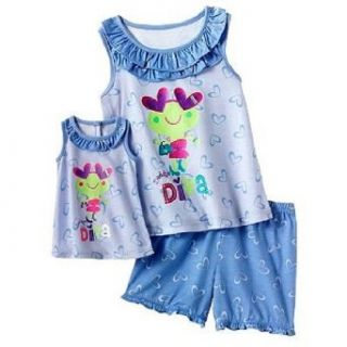 "Jumping Beans� Girl's ""Daddy's Little Diva"" Pajama Set & Doll Gown Shorts Pajama Sets Clothing"