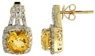 "14k White Gold Large Stone Earrings, w/ 0.30 Carat Brilliant Cut Diamonds & 3.78 Carats 7mm Cushion Cut Citrine Stone, 5/8"" (16mm) tall Jewelry"