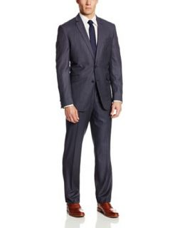 Kenneth Cole Reaction Men's Postman Stripe Two Button Side Vent Suit at  Men�s Clothing store