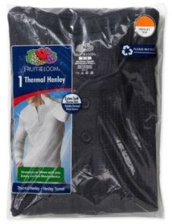 Fruit of the Loom Men's Thermal Henley Top Shirt   Navy at  Men�s Clothing store
