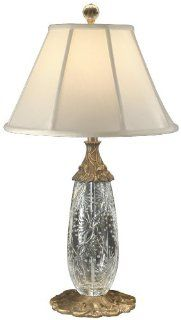 Dale Tiffany GT60698 Spring Lotus Table Lamp, Antique Brass and Fabric Shade