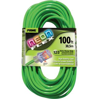 Prime Wire & Cable 12/3 Neon Power Cord — 100Ft.L, Green, Model# NS512835  Extension Cords