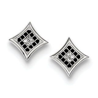 Sterling Silver Black And White Cz Pave Square Post Earrings, Best Quality Free Gift Box Satisfaction Guaranteed Jewelry