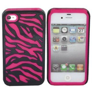 ASleek Hot Pink / Black Zebra Hard Soft Hybrid Silicone Case Cover for Apple iPhone 4 / 4S Cell Phones & Accessories