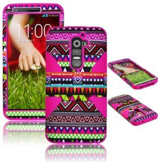 Bastex Heavy Duty Hybrid Case For LG G2 VS980 D800 Hot Pink Silicone / Multi Color Chevron Tribal Aztec Cover Cell Phones & Accessories